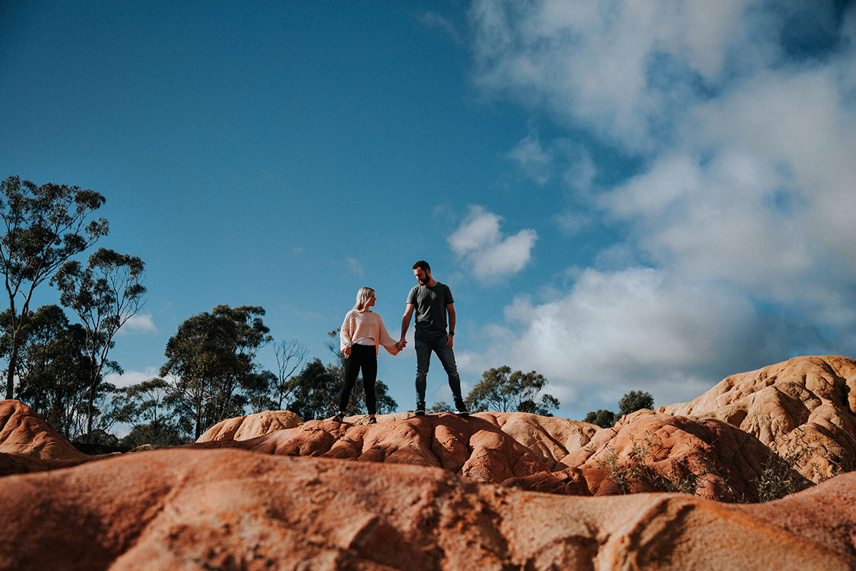 Engagement Photography Pink Cliffs Heathcote Dylan and Eleisha